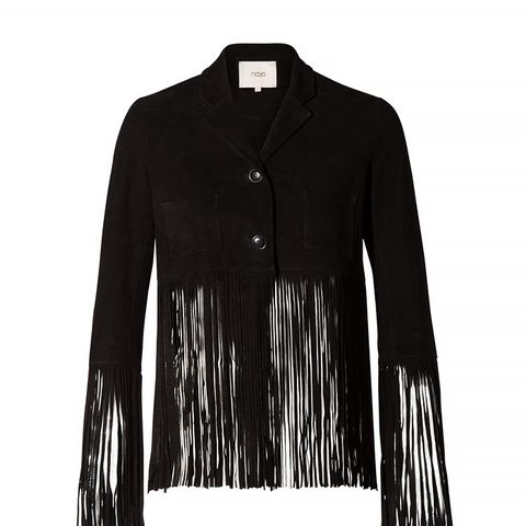 Suede Fringe Jacket, Black