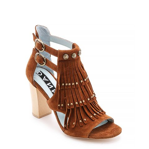 Quin Fringe Suede Sandals, Brown