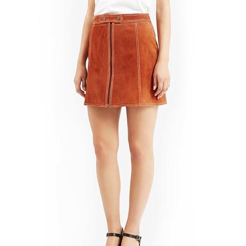 Suede A-Line Miniskirt