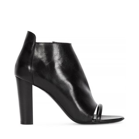Albion Black Open-Toe Leather Ankle Boots