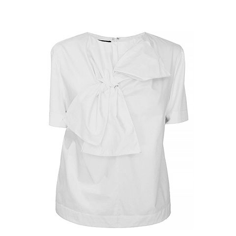 Satin Poplin Bow Tie Short Sleeve Top, White