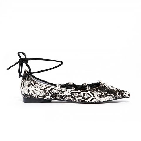 Gia Snake Pony Multi Strap Flat Shoes