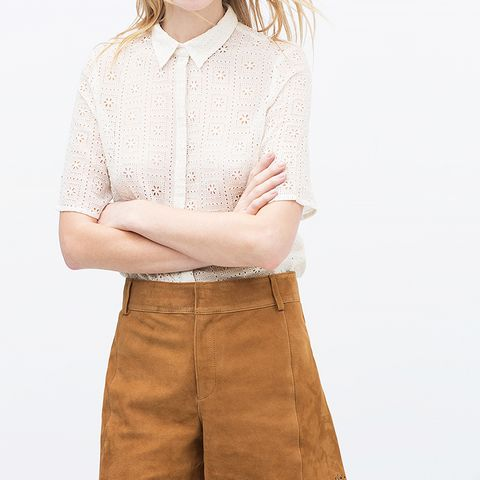 Suede Cutwork Shorts