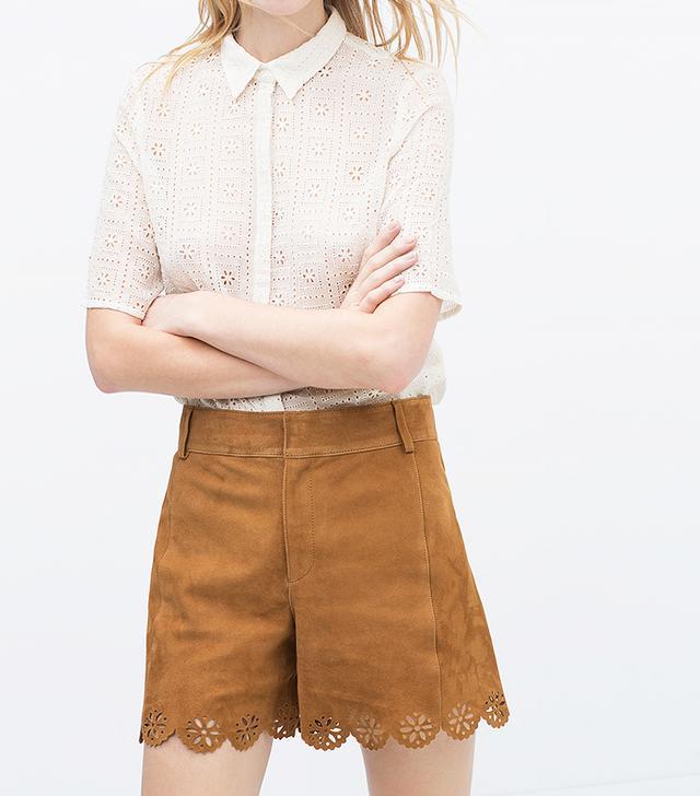 Zara Suede Cutwork Shorts