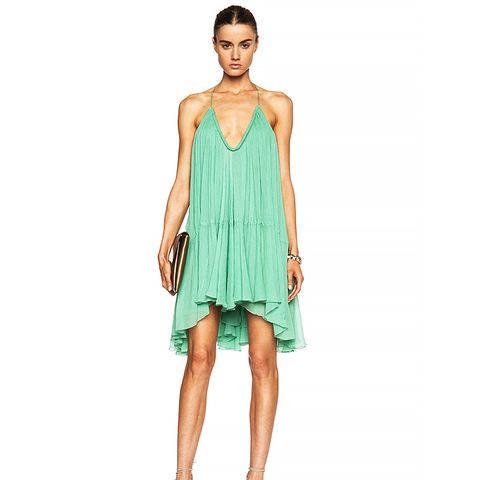 Silk Crepon V-Neck Mini Dress, Spearmint