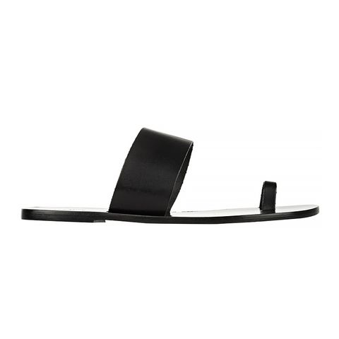 Astrid leather Slides, Black