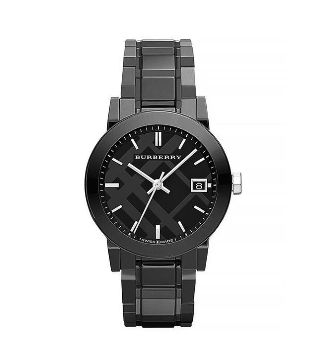 Burberry Ceramic Three-Hand Check-Dial Watch, Black