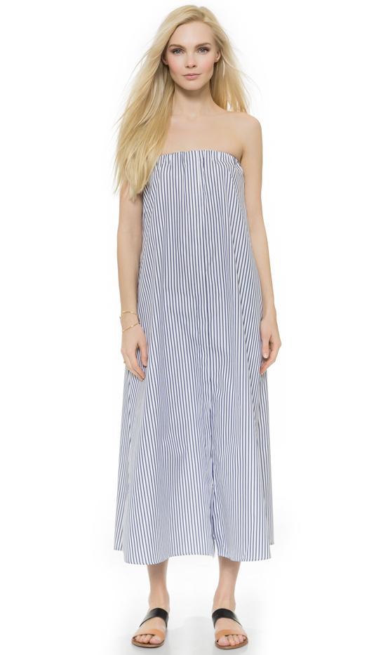 Caroline Constas Strapless Shirt Dress, Navy/White