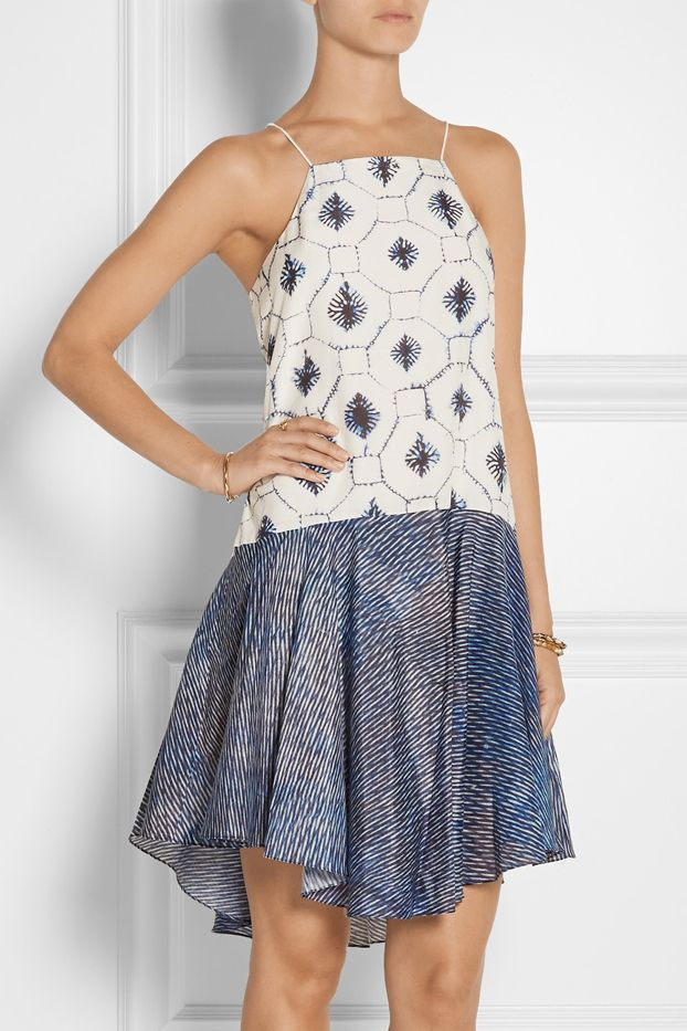 Tibi Printed Cotton and Silk-Blend Dress