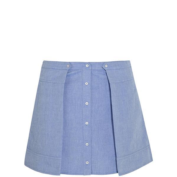 T by Alexander Wang Cotton-Chambray Mini Skirt