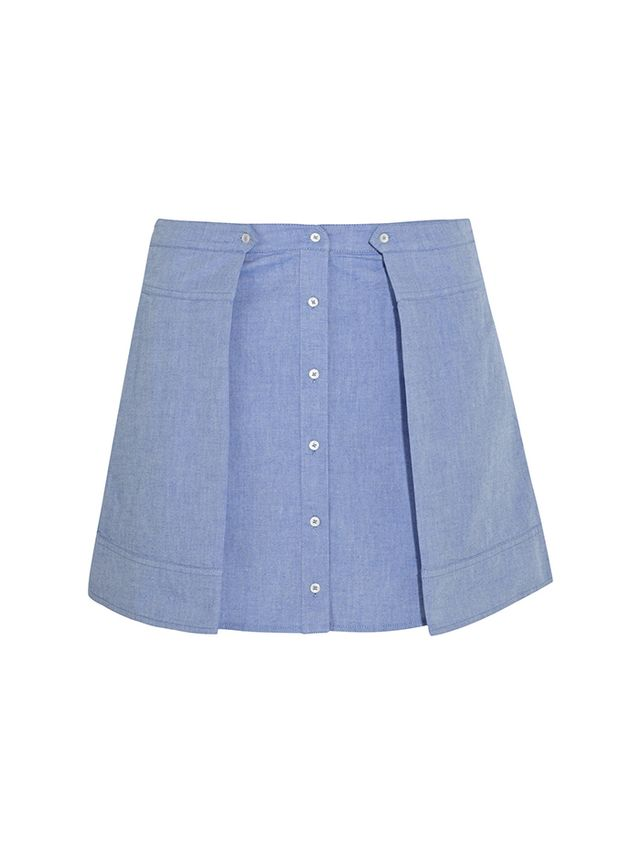 T by Alexander Wang Cotton-Chambray Mini Skirt