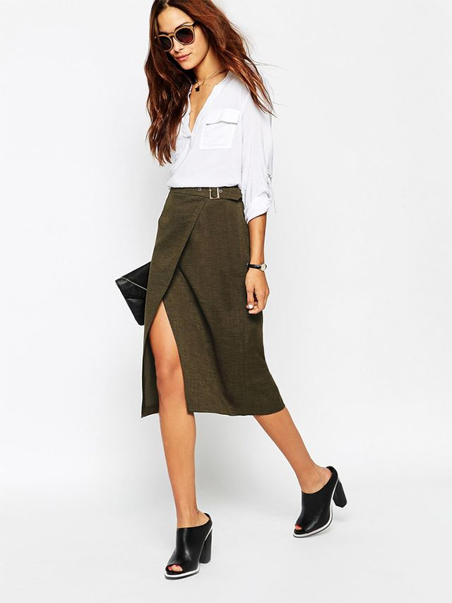 ASOS A Line Skirt With Wrap Front