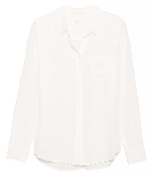 Equipment Brett One Pocket Silk Blouse in White