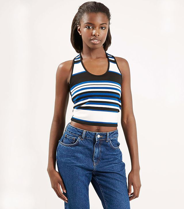 Topshop Engineered Stripe Halterneck Top
