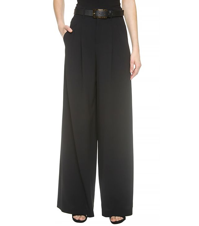 Alice and Olivia High Waist Double Pleat Pants, Black