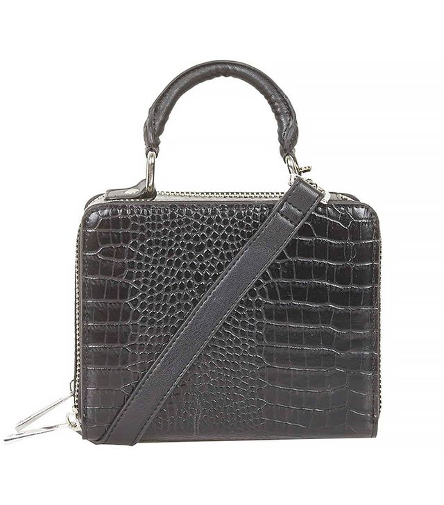 Topshop Croc-Effect Box Bag