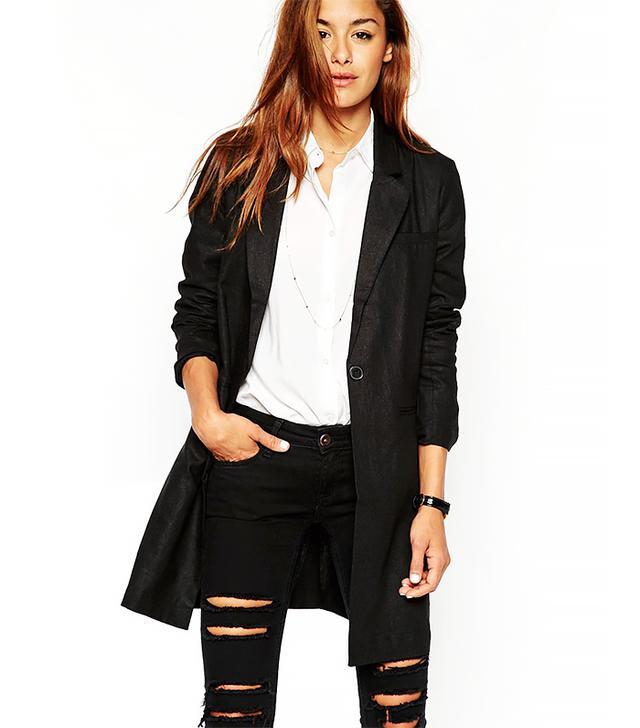 ASOS Linen Longline Blazer, Black