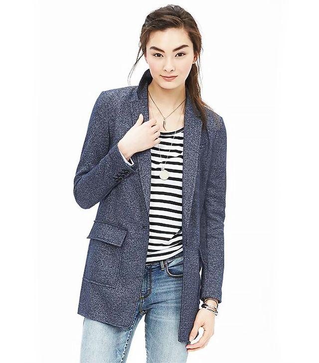 Banana Republic Textured Knit Boyfriend Blazer, Indigo