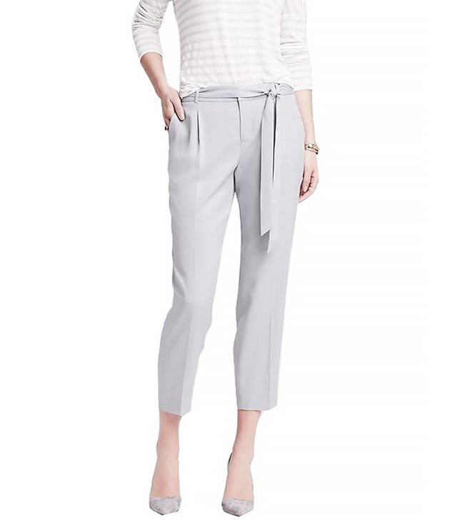 Banana Republic Drapey Tie-Front Pant, Footpath Grey