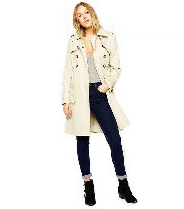 ASOS Trench Coat With Pleat Back And Vintage Detail