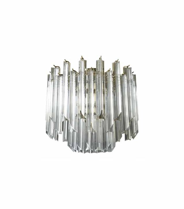 Donna Parker Habitat Mid-Century Lucite and Brass Chandelier