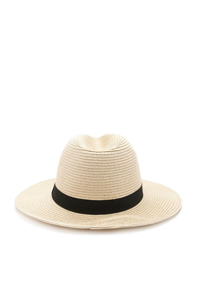 Forever 21 Straw Ribbon-Trimmed Fedora