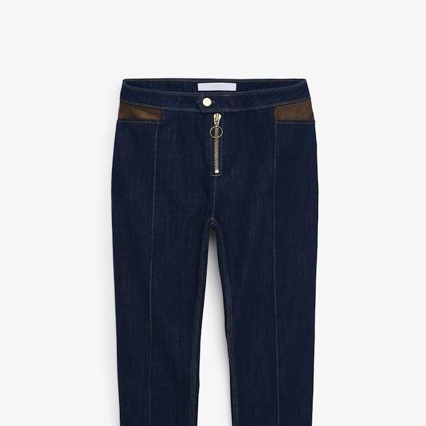 Mango Premium Faux-Leather Detail Jeans