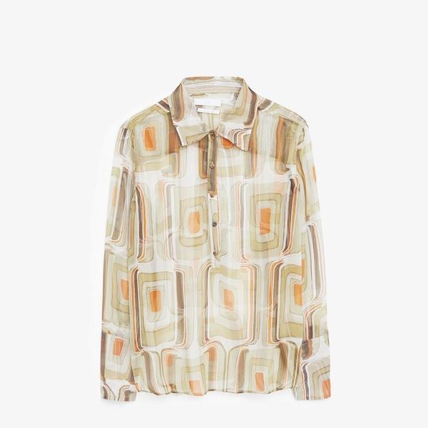 Mango Premium Printed Silk Shirt