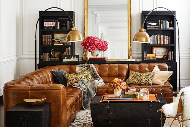 The couch is made from full-grain Italian leather.