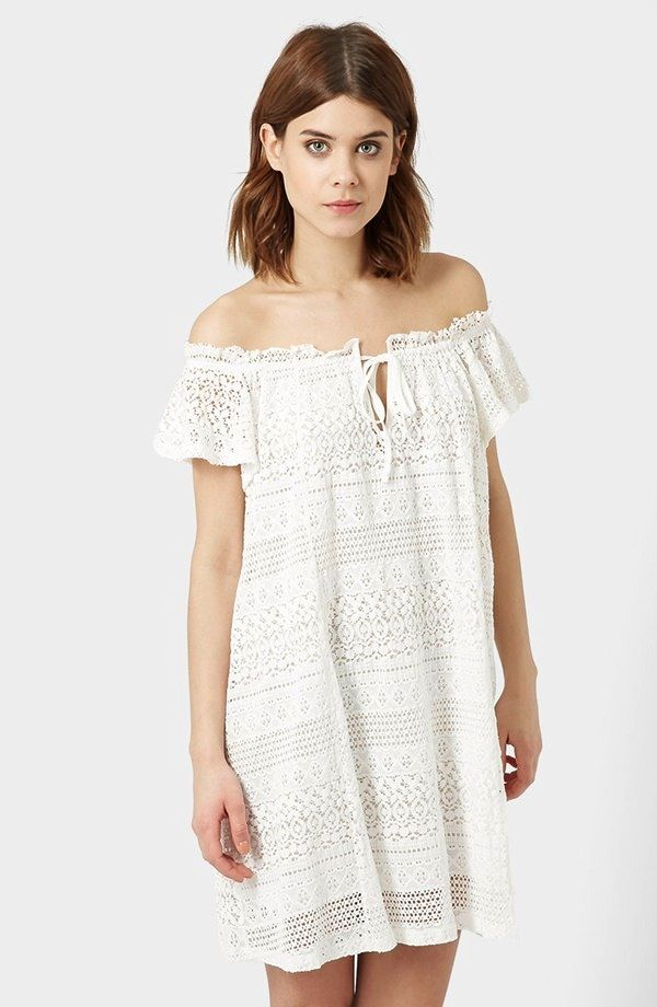 Topshop Lace Off the Shoulder Dress