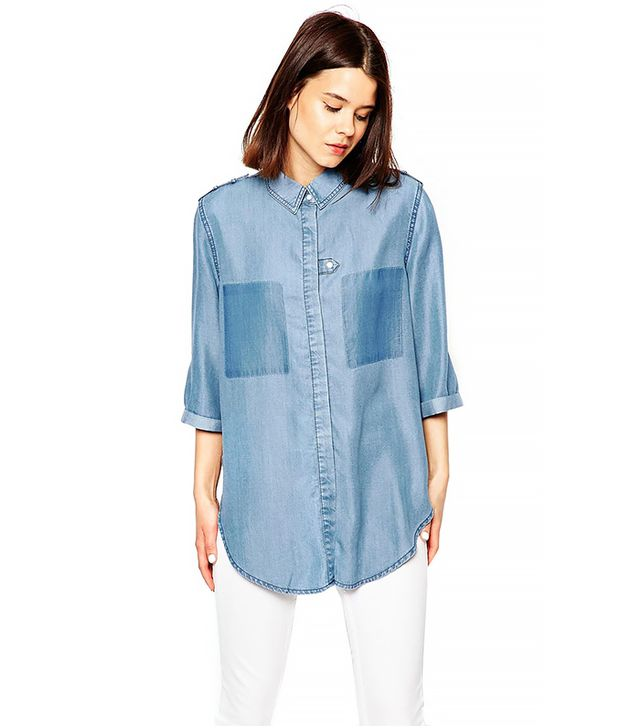 ASOS Colour Block Denim Slouch Shirt