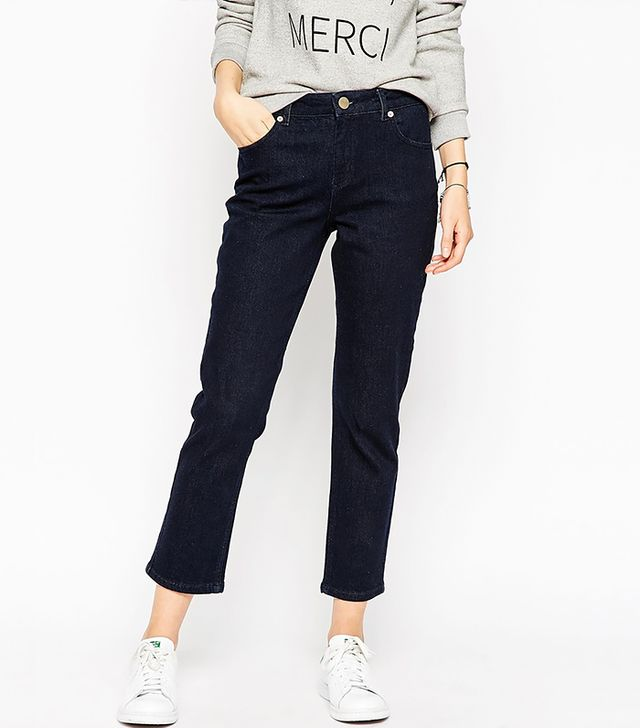 ASOS Thea Midrise Jeans in Chad Deep Indigo Wash