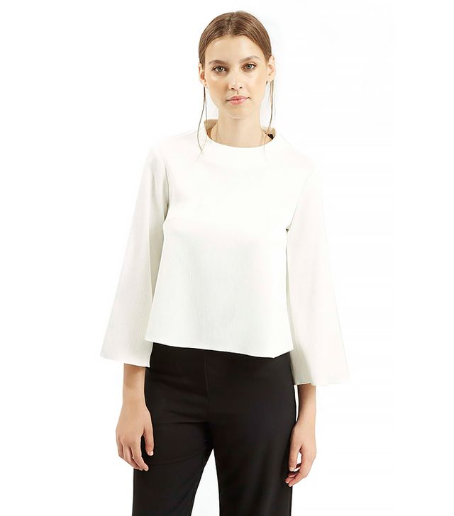 Topshop Textured Flared Sleeve Top