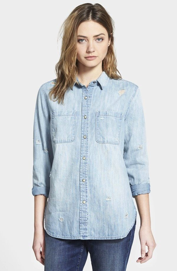 Treasure&Bond Destroyed Denim Shirt