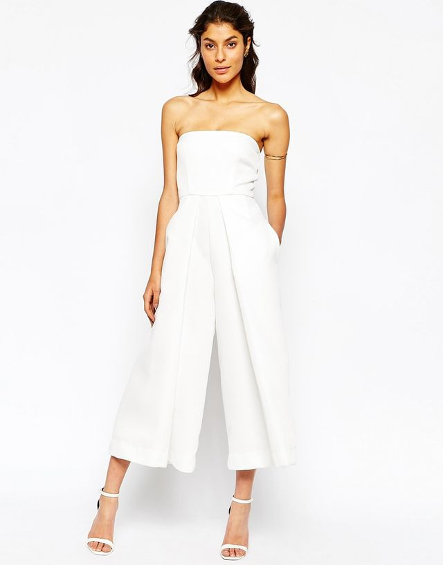 Solace London Waffle Bandeau Pleated Front Jumpsuit With Wide Leg