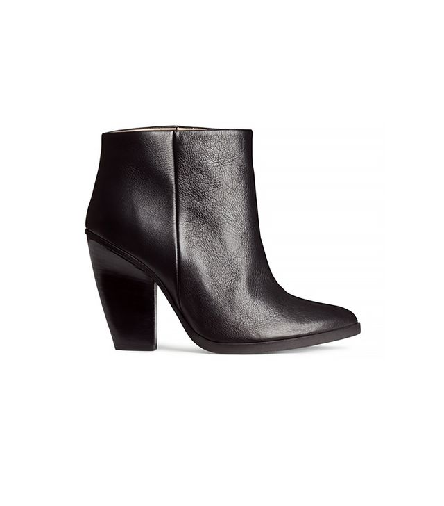 H&M Leather Ankle Boots, Black