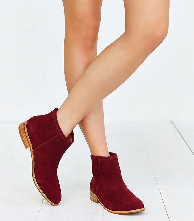 Urban Outfitters Poppy Suede Ankle Boot, Maroon
