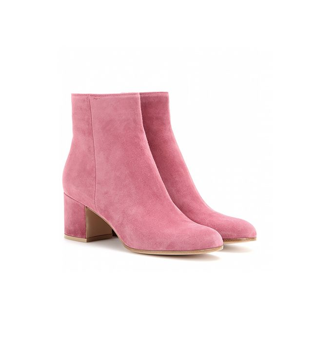 Gianvito Rossi Pink Suede Ankle Boots
