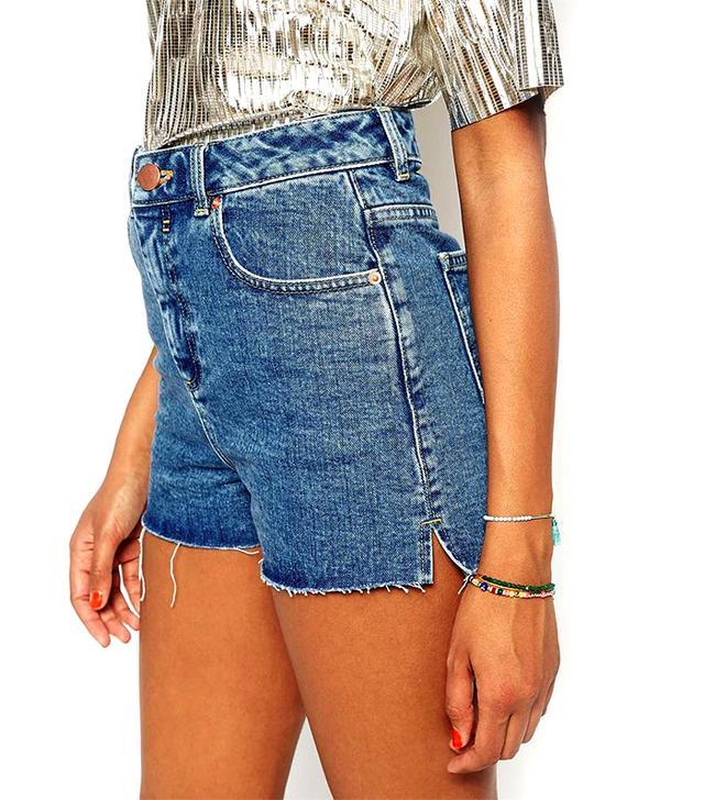 ASOS Denim Ultra High Waisted Side Split Shorts