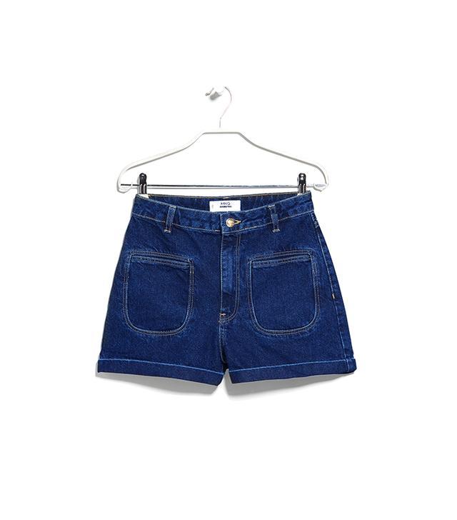 Mango High-Waist Denim Shorts