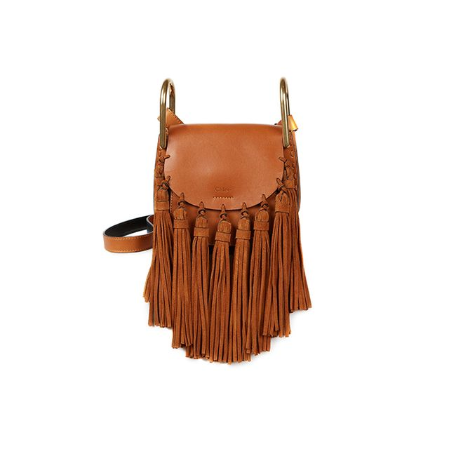 Chloé Hudson Small Leather & Suede Tassel Shoulder Bag