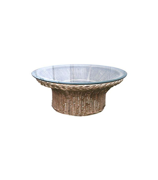 Chairish Round Wicker Glass Top Coffee Table