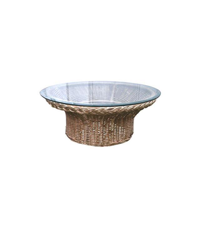 Chairish Round Wicker Glass Top Coffee Table