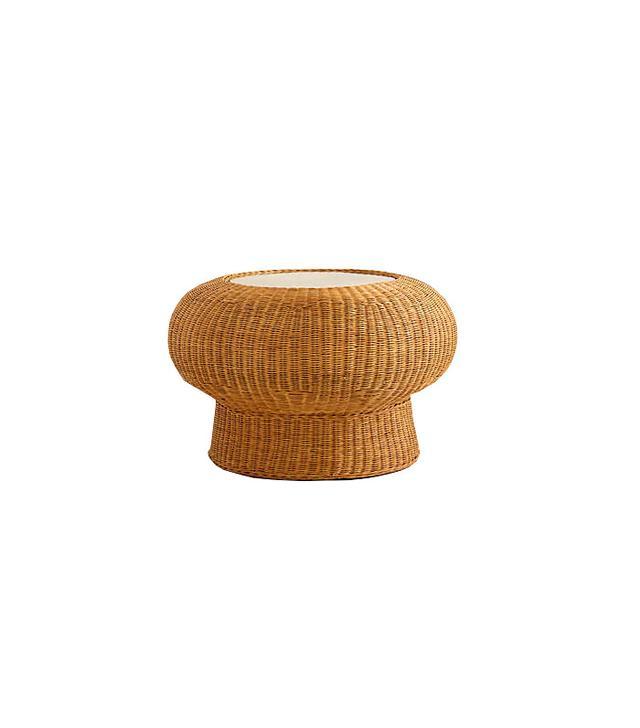 Anthropologie Wicker Pedestal Table