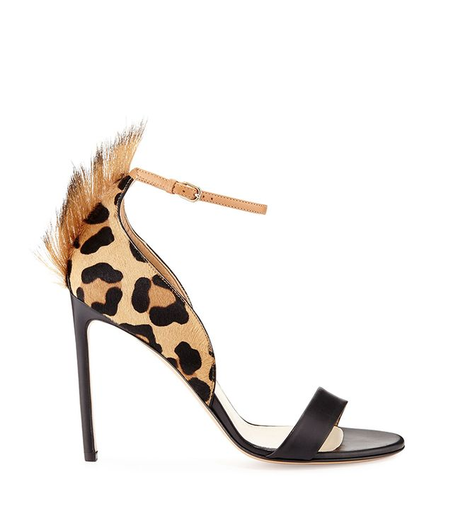 Francesco Russo Leopard-Print Calf Hair Sandals