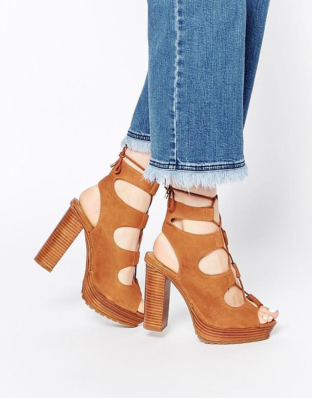KG by Kurt Geiger Henna Tan Lace Up Platform Sandals