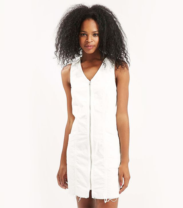 Topshop Cord Zip-Front Dress