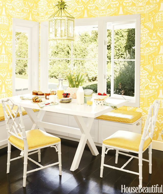 Using Clarence Houseu0027s Iconic Vase Wallpaper And A Decorative Lantern Gives  This Sunny Breakfast Nook Real