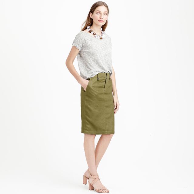 J.Crew Linen Cargo Pencil Skirt