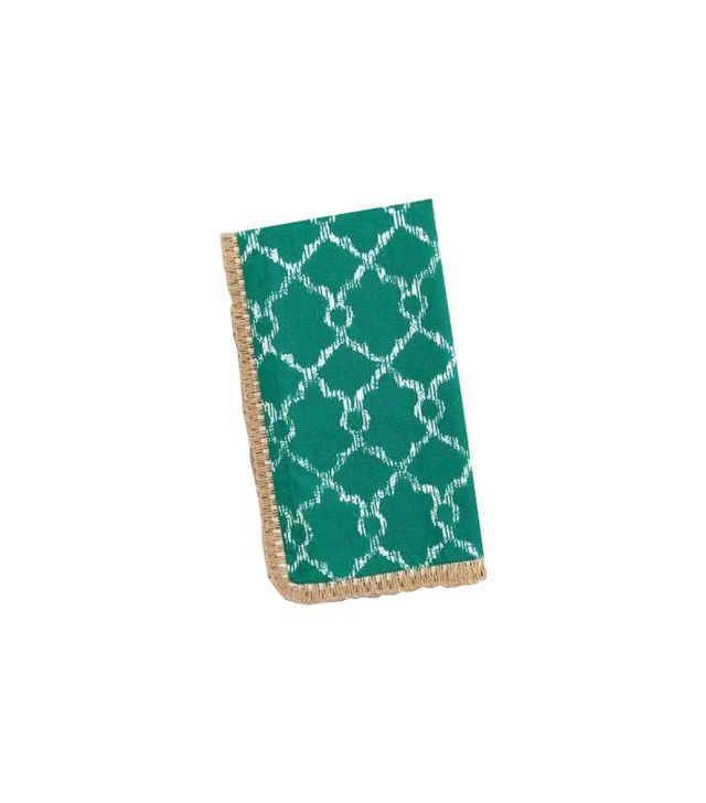 World Market Teal Lattice Ethel Napkins with Jute Trim